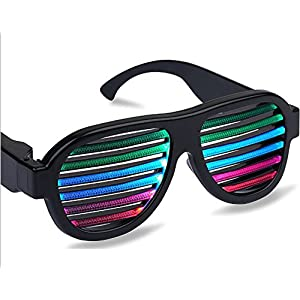 Light Up LED Flashing Glow Party Glasses Lighting Rave Sunglasses Sound Music Activated with USB Charger for Club Concert Birthday Christmas Holiday