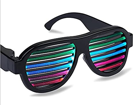 light up led flashing glow party glasses lighting rave sunglasses sound music activated with usb charger