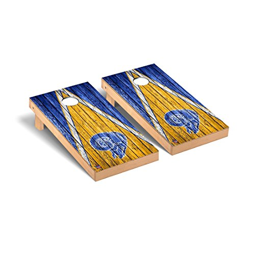 NFL Los Angeles Rams Triangle Weathered Throwback Football Cornhole Game Set, 24'' x 48'', Multicolor by Victory Tailgate