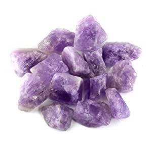"""Crystal Allies Materials: 1lb Bulk Rough Amethyst Quartz Stones from Madagascar - Large 1"""" Raw Natural Crystals for Cabbing, Cutting, Lapidary, Tumbling, and Polishing & Reiki Crystal Healing *Wholesale Lot*"""