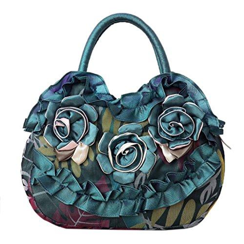 Sac JAGENIE Pocket Main Vert Toile Casual Femmes Rose Lady Purse Shopping Simple Zipper Fleur Vif à Sac XxrSqXz