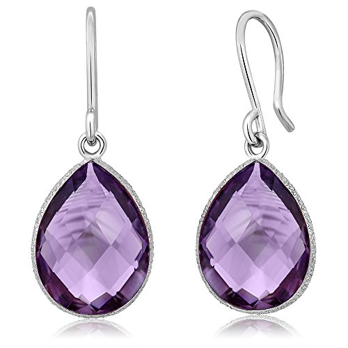 Amethyst Dangle Earrings Jewelry - 13.00 Ct Faceted Amethyst 16X12MM Pear Shape 925 Sterling Silver Dangle Earrings
