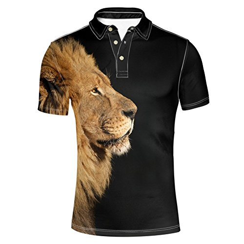 HUGS IDEA 7D Animal Print Men's Fashion T-Shirt Classic Golf Polos Shirt Summer Lion Short Sleeve Tee