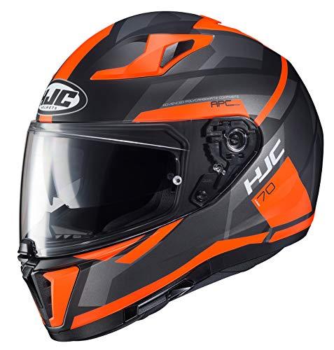 HJC Unisex Adulto Full Face i 70 Elim Casco de Moto (MC-6HSF Negro/Naranja, Grande)