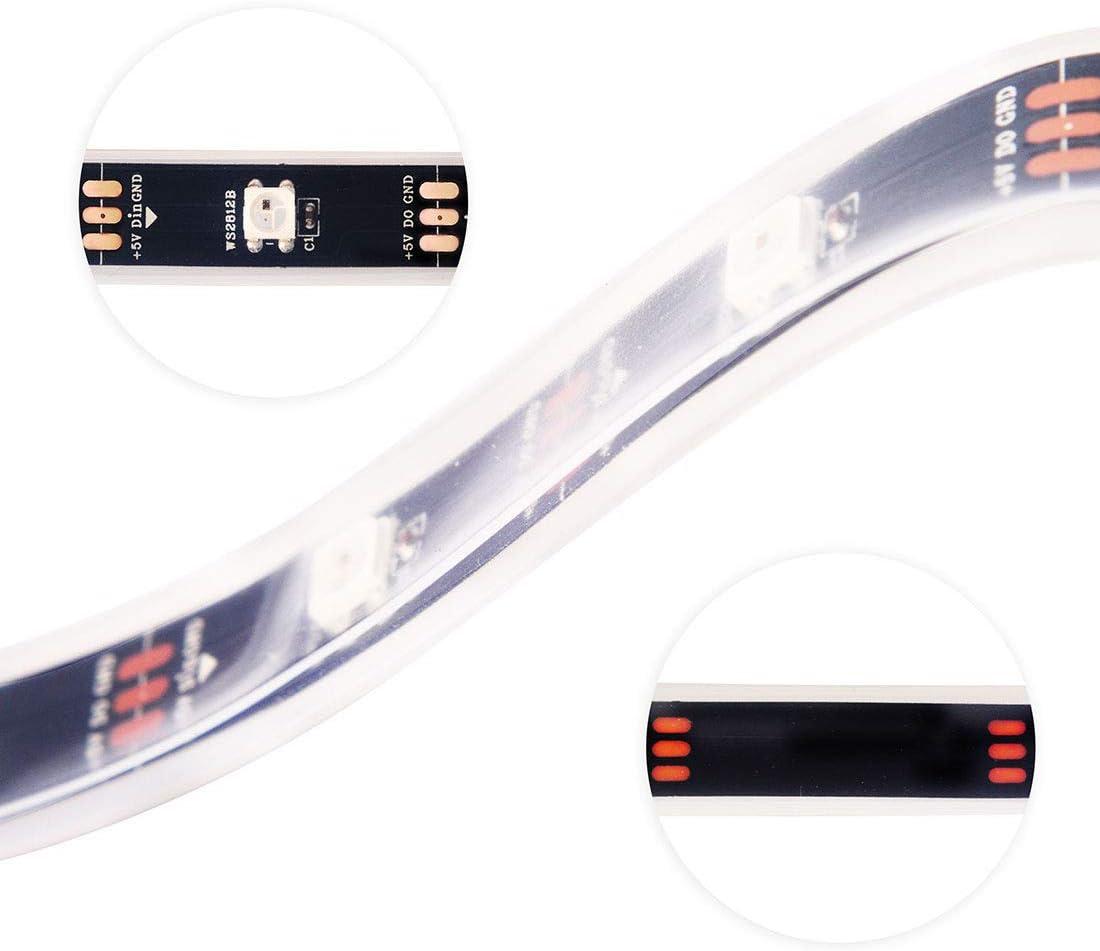 BTF-LIGHTING 1M 144 LEDs//Pixels//m WS2812B Schwarz PCB RGB adressierbare Strip Streifen mit 5050 SMD LEDs NichtWasserdicht IP30