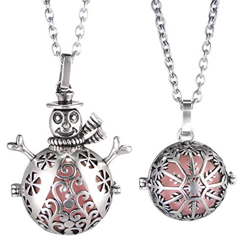 - 2 Pcs Oxidized Antique Silver Plated Snowman Snowflake Lava Stone Essential Oil Diffuser Locket Pendant Sweater Necklace Christmas Gifts for Kids