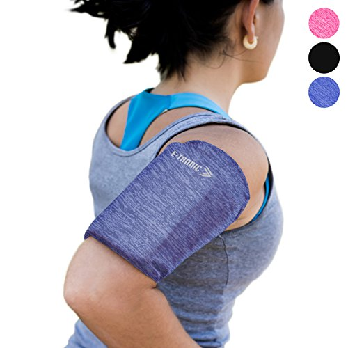 Phone Armband Sleeve Arm Band: Best Running BLUE Sports Strap Holder Pouch Case Bag for Exercise Workout Fits iPhone 6 6S 7 8 X Plus iPod Android Samsung Galaxy S5 S6 S7 S8 S9 Note 5 Pixel LG (MEDIUM) by E Tronic Edge