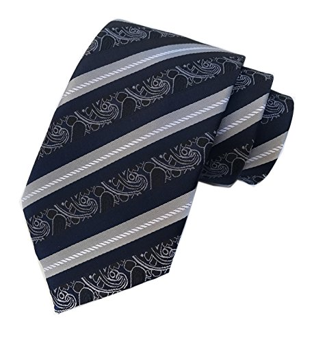 Navy Blue Gray Pinstripe (Navy Black Grey White Silk Tie Formal Dress Necktie Decent Holiday Gifts for men)