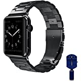 VIPPLUS Apple Watch band, iWatch Band Stripe Stainless Steel Strap Wristbands Replacement Bracelet with Durable Folding Metal Buckle Clasp for Apple Watch Series 3/2/1 Sports Edition