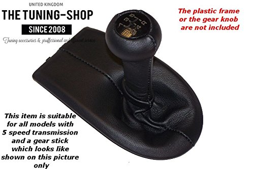 FOR PORSCHE BOXSTER 986 1996-2004 5 SPEED SHIFT BOOT BLACK GENUINE LEATHER BLUE STITCHING