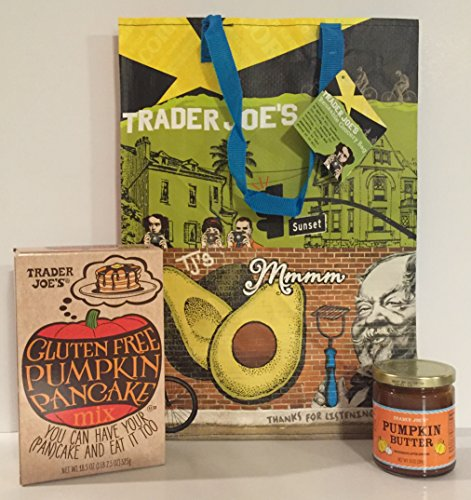 Trader Joe's Gluten Free Pumpkin Pancake Mix & TJ's Pumpkin Butter a TJ's Reusable Southern California Grocery Tote Plus A Bonus Free Organic Sweet Coffee Recipe from Z-Organics Bundle (4items)