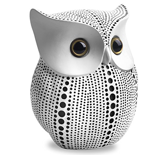 Owl Statue Decor (White) Small Crafted Buho Figurines for Home Decor Accents, Living Room Bedroom Office Decoration… 3