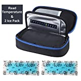 Parateck Oxford Fabric Medical Travel Cooler Bag Insulin Cooling Case with 2 Ice Packs for Diabetics Medication Cool (Black)