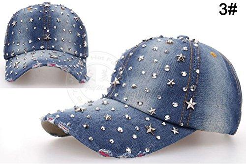 [Women Rhinestone Drill Diamond Star Studded Denim Baseball Tennis Sport Hat Cap] (Ladies Golf Fancy Dress Costumes)