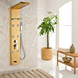 Senlesen Stainless Steel Shower Panel Tower System and Rainfall Waterfall Shower Head 5-Function Faucet Rain Massage System with Body Jets Gold