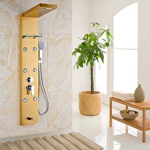 Senlesen lujo Golden cascada lluvia Columna de ducha masaje Jets ...