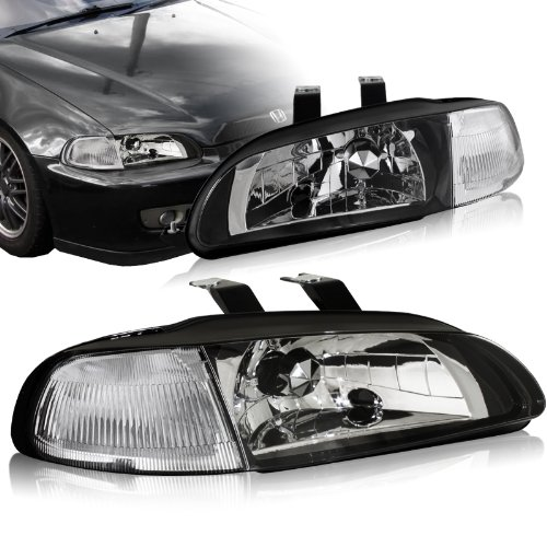 Euro Headlights Piece 1 (1992 - 1995 Honda Civic Black Housing 2-in-1 Piece headlights+Clear Corner Lights Lamps)