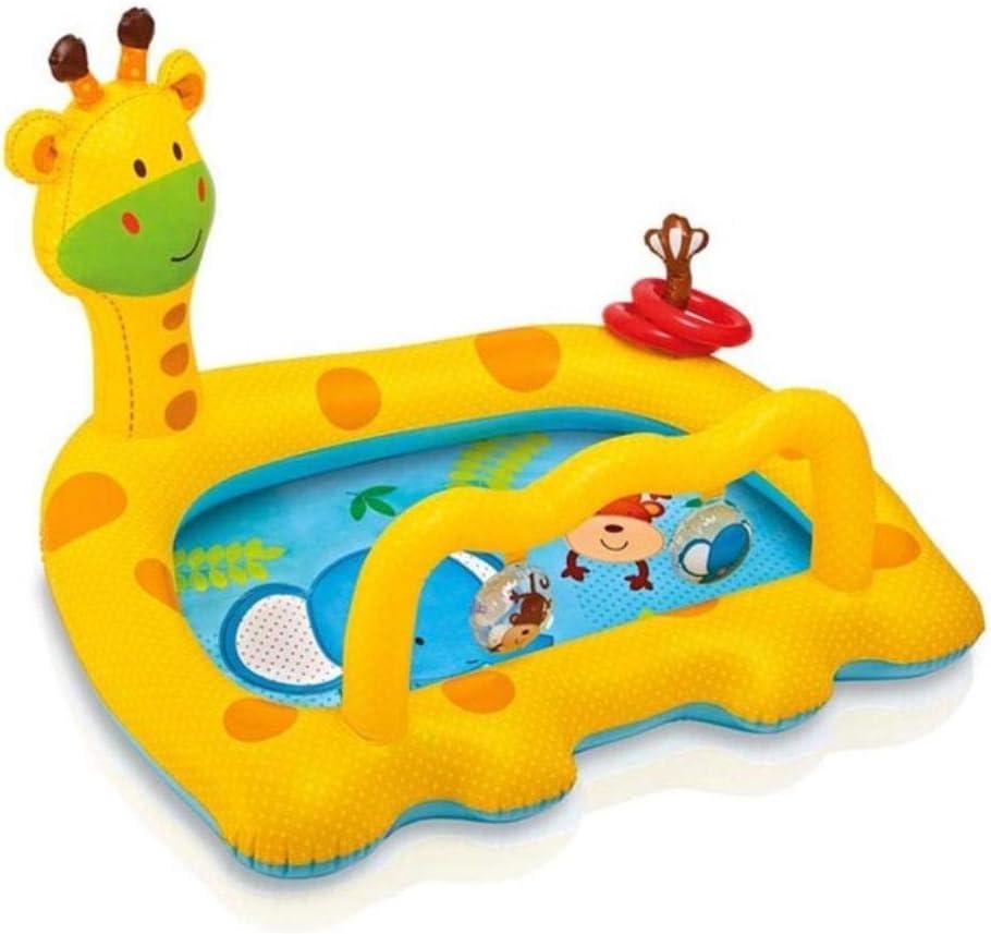 LIXIFF Piscinas inflables para niños Niños Piscina para bebés Jardín Bañera Bañera Grande de plástico Piscina para niños Piscina para Nadar Jirafa, Oro