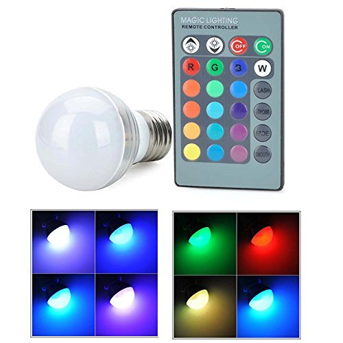 Long Life Standard Screw Base (LED Light Bulb RGB E27 Standard Screw Base 16 Color Changing Dimmable 3W RGB LED Light Bulb for Home Decoration/Bar/Party/KTV)