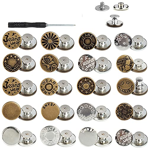 AXEN 20PCS Jeans Buttons Replacement, Perfect Fit Instant Adjustable Pants Button, No-sew Nailess Metal Buttons with Screwdrivers