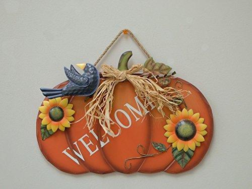 Thanksgiving Hanging (Wood Pumpkin Welcome Sign Harvest Hanging Wall Decoration Thanksgiving Day Pumpkin Door Decor)