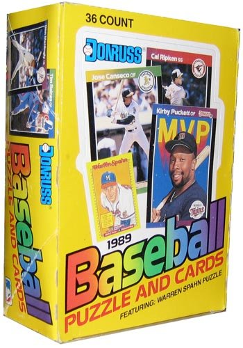 1989 Donruss Baseball Wax Box (36 Sealed Packs) Look for the Ken Griffey Jr. Rookie (Unopened Box Baseball)
