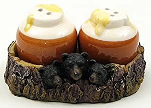 VoojoStore Bear With Honey Jar Salt and Pepper Set - Perfect Gift For Men Women Couples Grandpa Father Mother Engagement Wedding Anniversary Christmas Birthday Him Her Sister Wife Husband