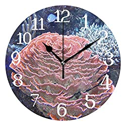 Ernest Congreve Wall Clock Importance of Coral Reefs Silent Non Ticking Decorative Round Circle Digital Clocks Battery Operated Indoor Outdoor Kitchen Bedroom Living Room Wall Decor 10 inch
