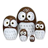 Happy Sales HSMD5/BR Wood Nesting Owl Doll, Brown