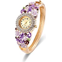 Bohemian Flower Watch Bracelet Wrap Bangle Women Fashion Mother Gift 18K Gold Plated
