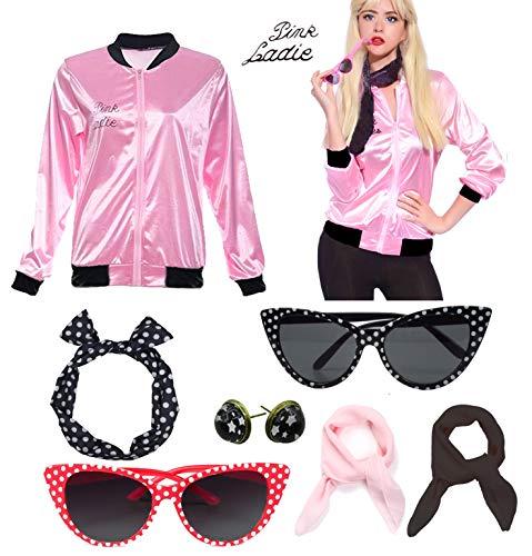 (Retro 1950s Pink Ladies Polka Dot Style Headband Costume Accessories)