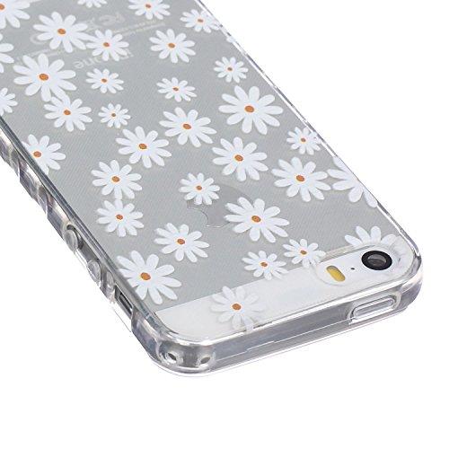 Meet de pour Apple iphone 5S / iphone SE Ultra Slim Flexible Transparent Soft Case / Housse / Portefeuille / Cover Étui / Housse étui - marguerite