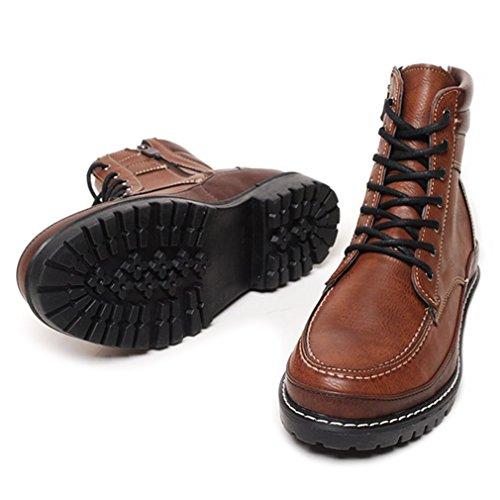 Epicstep Mens Décontracté Zip Lace Up Combat Travail De Randonnée Haut Cheville Bottes Chaussures Marron