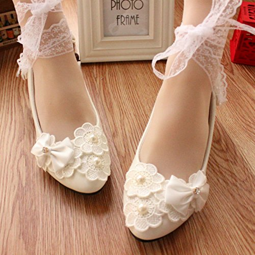 Lace Ribbon Nupcial Shoe mano a High White JINGXINSTORE hechas Heels Pearl Las Pretty blanco mujeres nfSz8Fx1qw
