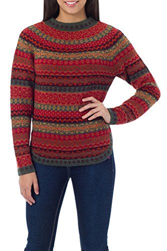 Medley Treasured - NOVICA Red Geometric 100% Alpaca Wool Sweater, Scarlet Medley'