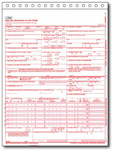 For Handwritten Only. CMS 1500 / Hcfa 1500 Medical Billing Forms (25 Sheets) by Salemax