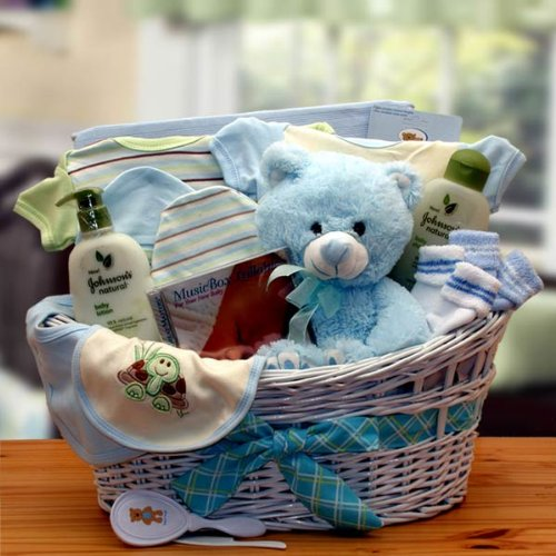 [Gift Basket Drop Shipping Deluxe Organic New Baby Gift Basket -, Blue] (Deluxe Blue Gift Basket)