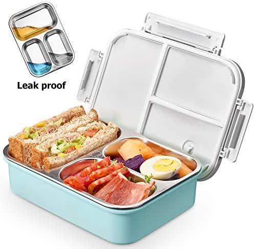 Kids Stainless Steel Lunch box - 2019 Upgraded Leak Proof 3-Compartment bento-Style Food containers-Ideal Portion Sizes for Ages 4 to 15 - BPA-Free and Food-Safe Materials