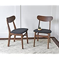 Mid Century Modern Dining Chairs SET OF 2 by Edloe Finch - Upholstered, Dark Grey Fabric