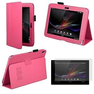 Sleek Gadgets®–Funda de piel con tapa y soporte y protector de pantalla para Sony Xperia Tablet Z