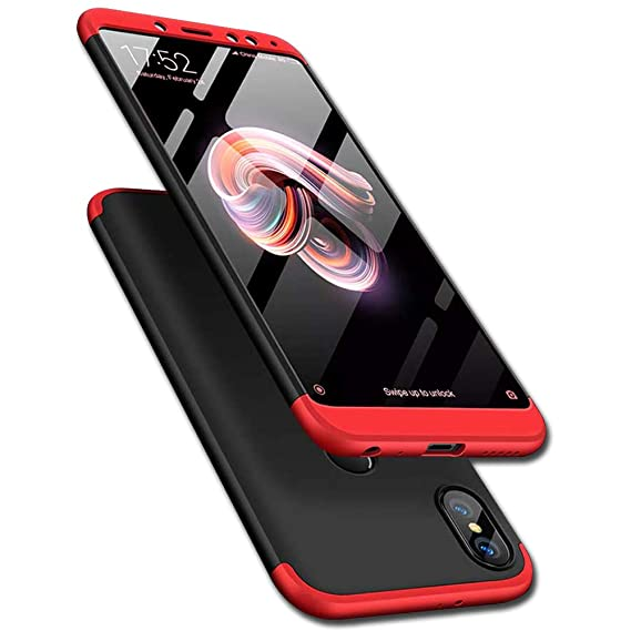 designer fashion 4233f 80f99 TheGiftKart Full Body 3-in-1 Slim Fit 3D 360 Degree Protection Hybrid Hard  Back Case Cover for Redmi Note 5 Pro (Black & Red)