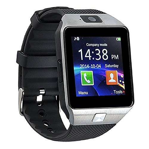 Qiufeng DZ09 Smart Watch Smartwatch Bluetooth Sweatproof Phone with Camera TF/SIM Card Slot for Android and IPhone Smartphones for Kids Girls Boys Men Women(Silver)