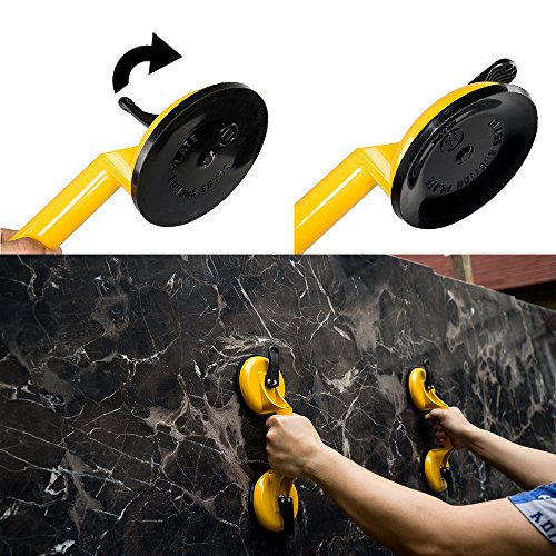 Qadira Premium Quality Heavy Duty Aluminum Suction Cup Plate Double Handle Professional Glass Puller/Lifter/Gripper by Qadira (Image #5)