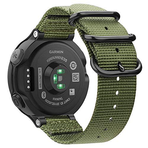Fintie for Garmin Forerunner 235 Watch Band, Soft Nylon Sport Straps Replacement Watch Bands for Garmin Forerunner 235/220/230/620/630/735XT, Olive