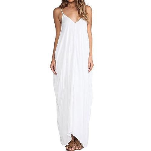 E.JAN1ST Women's Spaghetti Strap Dress Low V-neck and Low V-back Long Maxi Dress