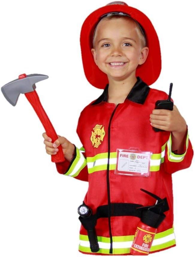 Matissa Niños Bombero Roleplay Disfraz y Accesorios Bombero Bombero (Pequeño (3-5 años), Conjunto de Luces)