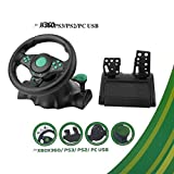 180 Degree Rotation ABS Gaming Vibration Racing Steering Wheel with Pedals(Color
