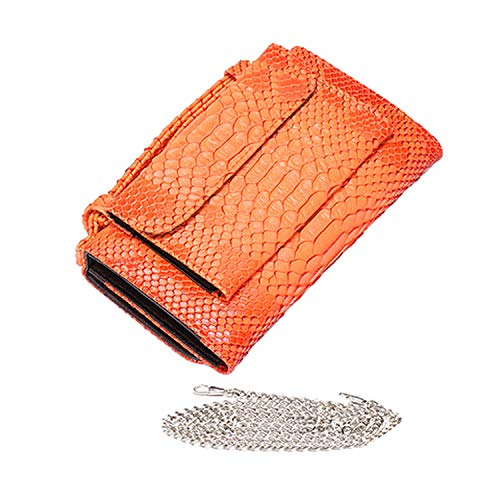 Luxury Genuine Python Leather Hand Bags Cross Body Shoulder Bag Snakeskin Designer Day Clutch Chain Crossbody Bag,Orange