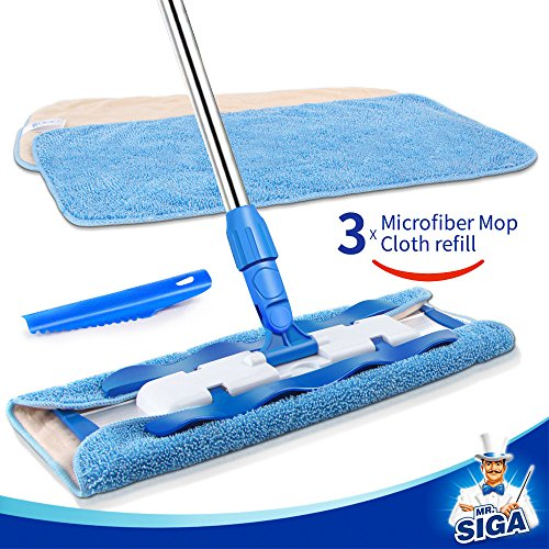 MR. SIGA Professional Microfiber Mop,Stainless Steel Handle – Pad Size: 42cm x23cm, 2 Free Microfiber Cloth Refills and 1 Dirt Removal Scrubber included