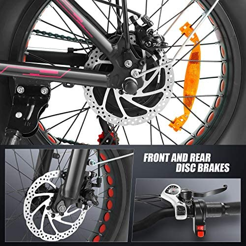 Speedrid Folding Electric Bike Fat Tire Electric Bike 20″ 4.0, 500W Powerful Motor, 36V 12.5Ah Removable Battery and Professional 6 Speed